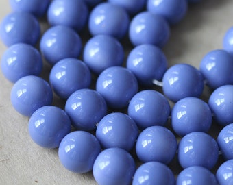 10mm Round Glass Beads - Jewelry Making Supply -  10mm Round Beads - Craft Supplies (20 beads) Periwinkle Blue