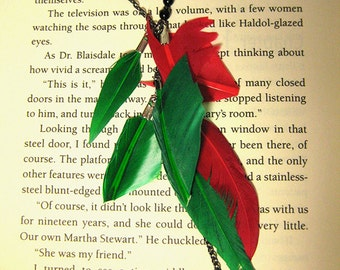 Feather Necklace Lariat Gift for Her Mom Gift Statement Necklace Green Red Boho Necklace Bohemian Necklace for Her Christmas