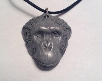 Loulis Chimpanzee Pendant Necklace  Light cold cast pewter
