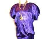 GIANNI VERSACE Vintage Tunic Purple Ombre Asymmetrical Silk Blouse - AUTHENTIC -