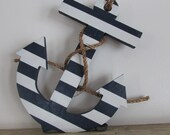 Nautical Wood Anchor. 12 inch  Navy and White Striped Anchor. Wood Anchor. Hand Made Anchor. Made to Order