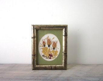 Dried Flowers in Gold Wood Frame and Green Matte Signed
