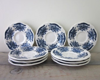 Blue Carnation Ironstone Plates Saucers Set of 9