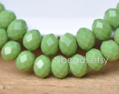 70 beads- Rondelle Crystal Glass Faceted beads 6x8mm, Opaque Olive Green- (BZ08-107)