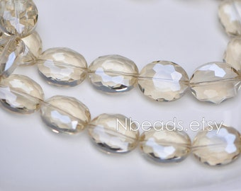 33pcs Oval Crystal Glass Faceted beads 20mm, Sparkly Silver Champagne- (TS03-9)