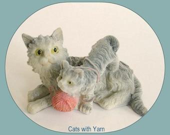 Toy Kitty Cat Figurine Toy Cat Décor Toy Kitten Figurine Cat and Kitten Cat Lover Feline Gray Cat Figure Kitty Figurine Orange Cat Tabby Cat