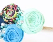 Romantic Oceans Headband Mint Turquoise Aqua Navy Cotton Rosette Headband with hand beading