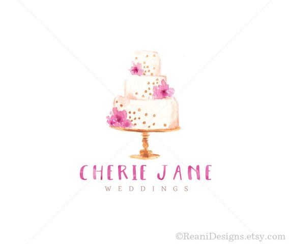 Bakery Watercolor Logo Design Wedding Cake Purple and Pink