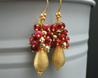 Red Quartz Gold Earrings Brushed Gold Teardrop Earrings, Ruby Quartz Cluster, Gold Cluster Gold Pyrite Dangle, Wire Wrapped Red Gemstone