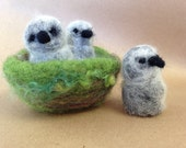READY to SHIP Eagle babies, three bird nest, american eagle, Waldorf toy, nature table