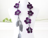 Gray and Purple Flower Lariat, Necklace, Scarf, Scarflette