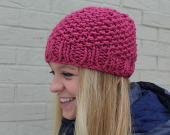 Pink Knit Chunky Hat, Chunky Knit Beanie Hat, Raspberry Pink Chunky Knit Hat, Warm Knit Hat, Big Knit Pink Hat, Knit Toque, Knit Cap Pink