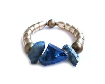 Beaded Quartz Bracelet, Blue Quartz Bracelet, Brass Stone Jewelry, Chunky Bracelet