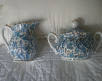 Vintage Blue and White Hallmarked Porcelain Sugar and Creamer Set