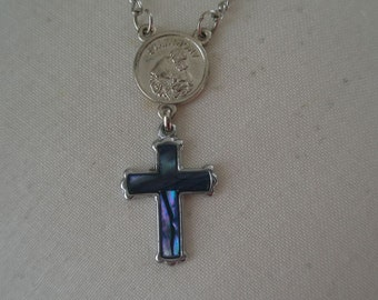 Vintage Silver Tone and Rainbow Abalone Crucifix Pendant on a St Anthony Pressed Discs Chain Bracelet