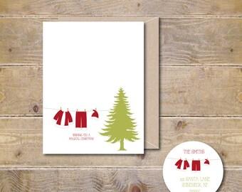 Christmas Cards, Holiday Cards, Christmas Card Set, Santa Claus, Holiday Card Set, Santa Claus Suit, Clothesline, Santa Hat