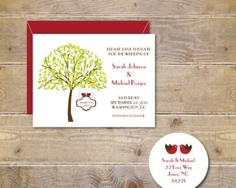 Wedding Save The Date, Love Birds Save The Dates,  Save The Dates, Lovebird Save The Dates, Trees, Wedding Date, Love Birds, Lovebirds