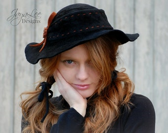 Floppy Hippie Hat / Black Felt Hat / Rustic Bohemian Fashion