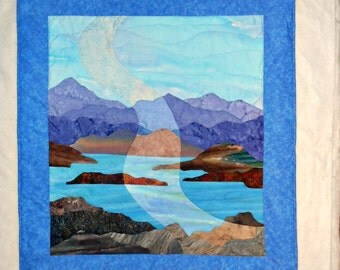Original Quilted Wall Hanging - Sunbeam Lake and Mountain Scene in Purple, Blue and Brown