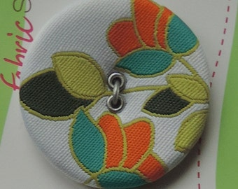 Tropical Flower Fabric Covered Button by FabricSensations