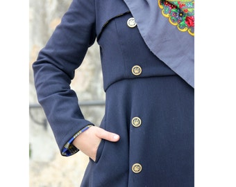Navy blue double breasted long winter coat  - 50% off - On sale