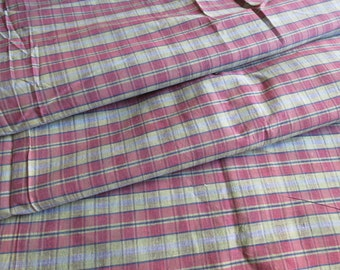 Vintage Green Burgundy Plaid Cotton Fabric 5 yards
