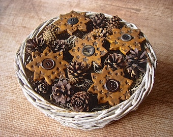 Country Primitive Autumn Fall Sunflower Bowl Fillers Set of 5 Rustic Grubby Mustard Vintage Button Polymer Clay Sunflowers with Star Texture
