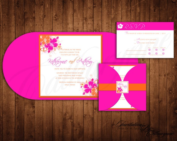 Tropical Wedding Invitations Pink And Orange By Catharynne