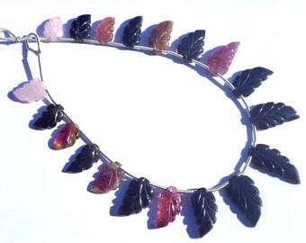 Multi Tourmaline Carved Leaf Semi Precious Gemstone Beads (Quality B) / 19 Pieces / CODE 364