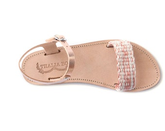 Handwoven greek sandal in bronze leather & rose gold/off white woven strap, flat woven womens sandal