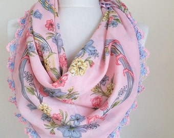 Turkish scarf // square scarf // Oya scarf // Pink Scarf // woman scarf // hijab // cotton scarf