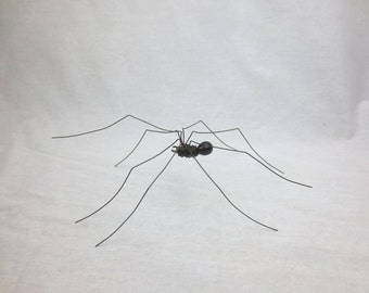 Delicate Long-Legged Spider Shiny and Black Repurposed Sculpture