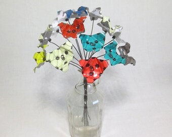 Futuristic and Funky Bouquet of Triangular Forever Blooming Metal Flowers