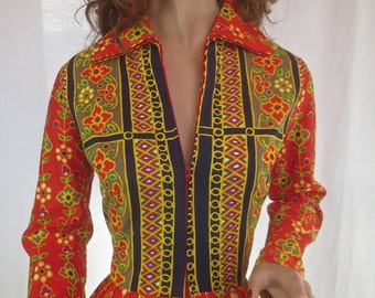 "Fabulous MOD Vintage 1970's ""Elegant Miss"" Bright Maxi Dress Gown Exotic Lounge Dress-M"