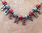 Black Leather Buckeyes Necklace with the Pewter Letters and Ceramic Beads, Team Necklace