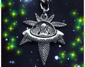 UFO 420 Alien Cannabis pot leaf keychain