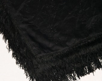 Cool Vintage Black Sparkly Tablecloth With Fringed Edges- M