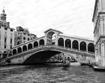 Fine Art Photography, Rialto Bridge, Venice, Italy, black and white, 8x10