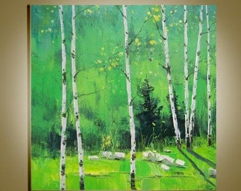 "Original Modern  Oil Painting Palette Knife landscape fine art on Canvas Birch forest Ready to Hang by Qujun 20"" by 24"""