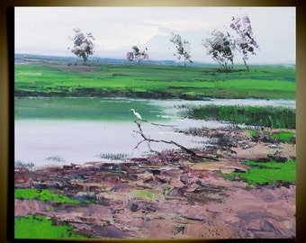"""Original Modern Palette Knife landscape wall decor Oil Painting on Canvas Spring is coming Ready to Hang by Qujun 20"""" by 24"""""""