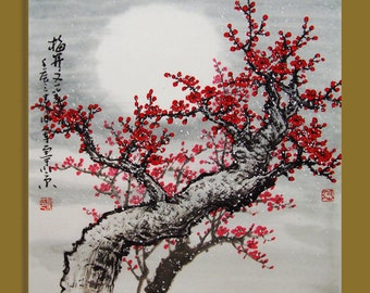cherry blossom painting floral painting Original painting chinese art -Lovely cherry blossom tree No.20