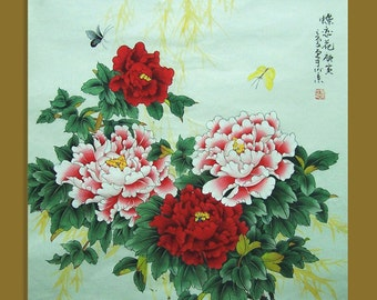original chinese traditional painting peony with butterfly