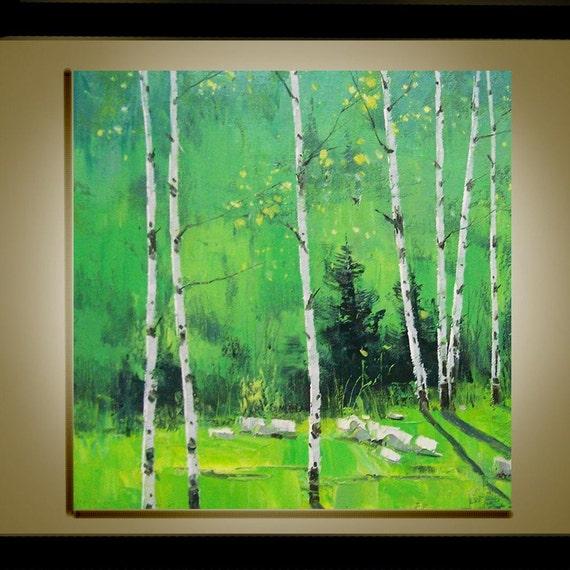 Paysage peinture l 39 huile moderne couteau original fine - Peinture a l huile moderne ...