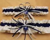 Ivory and Navy Blue Satin Air Force Wedding Garter Set