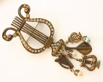 Vintage Pastel Multi Colored Rhinestone Harp Pin with Dangling Charms
