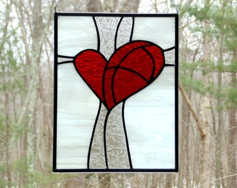 Red heart panel, stained glass suncatcher, bright red glass heart gift for her, romance love, anniversary gift, glass window panel