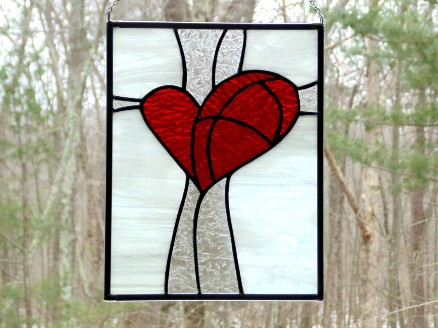 Red Stained Glass : Red heart panel stained glass suncatcher bright