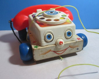 vintage 1961 fisher price #747 chatter telephone pull toy