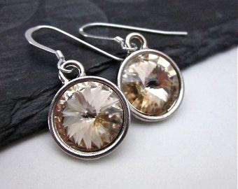 Light Silk Swarovski Crystal Earrings -- Champagne & Silver Earrings -- Crystal Drop Earrings -- Champagne Crystal Earrings