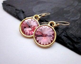 Light Pink Dangle Earrings -- Light Rose Swarovski Crystal Earrings -- Gold & Light Pink Earrings -- Soft Pink Earrings --Pink Drop Earrings
